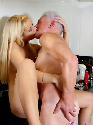 Blonde Beauty Adores An Old Male His Penis